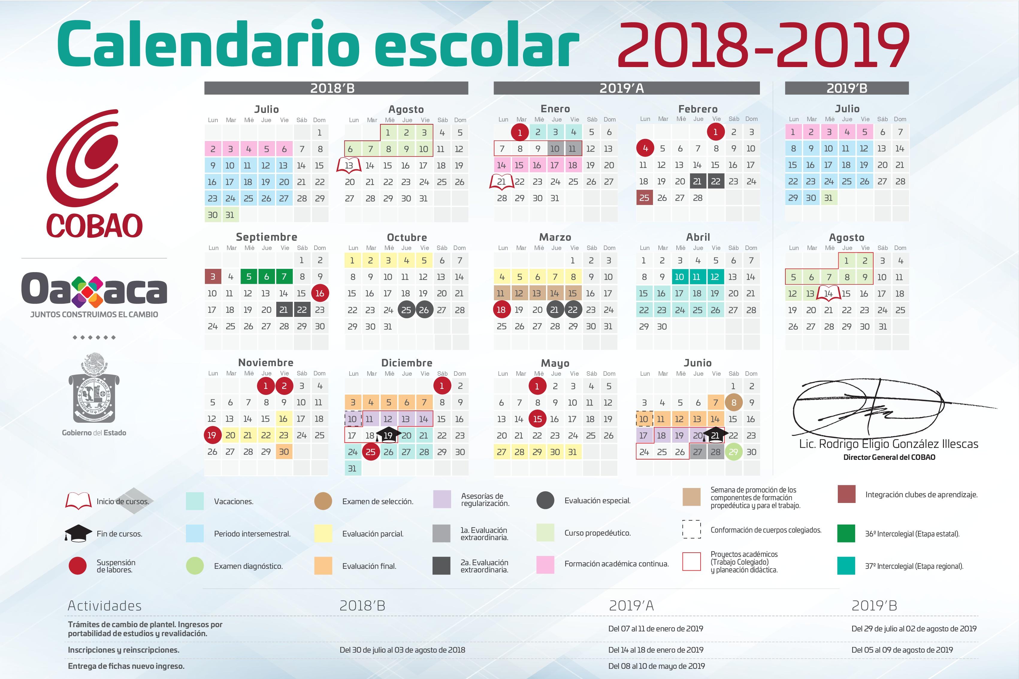 Calendario Escolar 20202020.Cobao